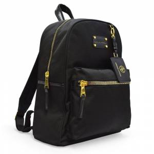 Adrienne Vittadini Nylon Backpack with 13 Inch Padded Laptop Sleeve-Black (Black - Laptop Compartment - 10 - 12.9 Inches)