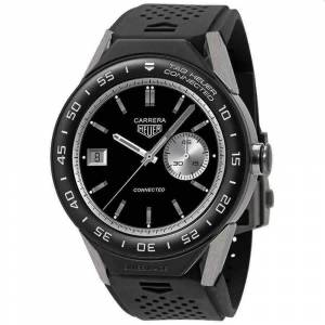 Tag Heuer Men's SBF8A8001.11EB0128 'Connected' Black Rubber Watch - Multi (Multi)