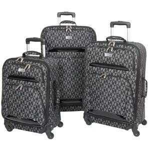 "Geoffrey Beene Hearts 3-piece Spinner Luggage Set - 28"" (Black w/ Gray Hearts)"