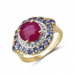 Malaika 3.70 Carat Genuine Glass Filled Ruby & Tanzanite .925 Sterling Silver (7)