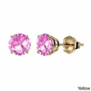 ColorStar 10k White or Yellow Gold 6mm Round Lab-Created Pink Sapphire Stud Earrings (Yellow - Yellow)