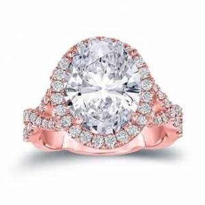Auriya 14k Gold 5 3/4ctw Unique Oval-cut Halo Diamond Engagement Ring Certified (Rose - 6)