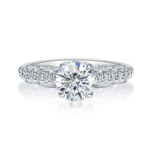 Lihara and Co. 18k White Gold 2/5ct TDW White Diamond Semi-Mount Engagement Ring (G-H, VS1-VS2) - White G-H - White G-H (8)