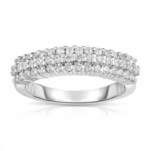 Noray Designs 14K White Gold Diamond (0.80 Ct, G-H Color, SI2-I1 Clarity) 3-Row Wedding Band (5.5 - White)