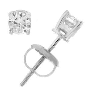 Overstock AGS Certified I1-I2 1/4 cttw Diamond Stud Earrings 14K White Gold (White)