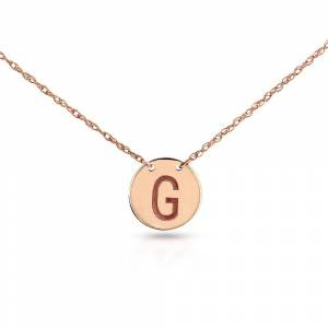 Annello by Kobelli Personalized Initial Pendant 14k Rose Gold, Round Disk Tag - Sans Serif (Q)