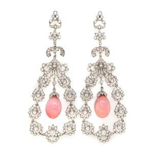 Overstock Platinum Conch Pearl 11.57 Carat Diamond Earrings (F-G, VS1-VS2)