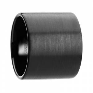 Overstock THORSTEN - NERO Flat Pipe Cut Black Tungsten Carbide Ring with Brushed Finish - 20mm (8.5)