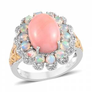 Shop LC 925 Sterling Silver Peach Opal Opal Ring Size 6 Ct 6.1 - Ring 6 (Pink - Opal - Pink - Ring 6)