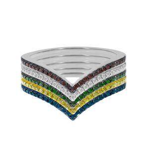 Prism Jewel 10k 0.70Ct Multi Color & G-H/I3 Diamond V Shaped Wedding Ring Set (9.5 - Rose)