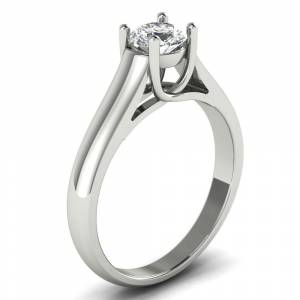 Lucid Styles 1/2 CT 4-Prong Round Cut Diamond Solitaire Engagement Ring in 14KT (Yellow - 5.25)