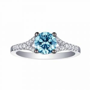 Smiling Rocks 10K 1.21Ct Lab Grown Blue Color Diamond with G-H/VS1 Side Diamond Solitaire Ring (7 - White)
