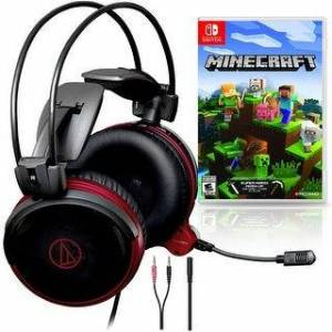 Technica Audio-Technica ATH-AG1x Gaming Headset Bundle with  Minecraft for - Black (Black)