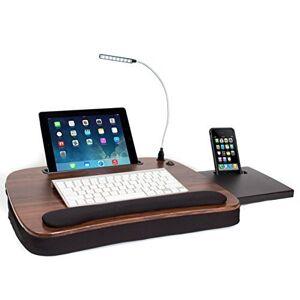 Sofia + Sam Black and Brown Wood Top Memory Foam Multitasking USB Light Lap Desk (Brown)