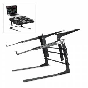 Pyle Portable Dual Laptop Stand, Universal Standing Table with Adjustable Height, Ergonomic Design