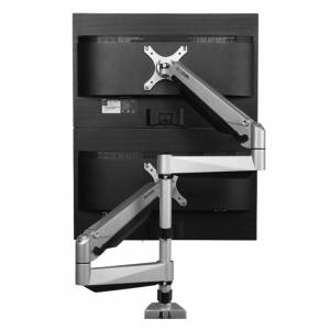 Loctek Silver Aluminum Dual LCD Adjustable Monitor Stand (Dual Arm Monitor Mount)