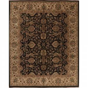 "Overstock Agra Floral Oriental Area Rug Handmade Wool All-Over Black Decorative - 8'0"" x 9'10"" (8'0"" x 9'10"" - Black/Ivory)"