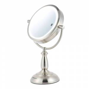 Ovente Tabletop Makeup Mirror 5X/7X/10X, Nickel Brushed (MPT85BR) (Round - Lighted - Nickel Brushed)