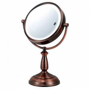 Ovente Tabletop Makeup Mirror 5X/10X Magnification, Copper (MPT85CO) (Round - Magnification - Copper)