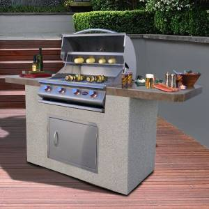 American Spas Bistro 470 7 Foot Stucco and Tile 4 Burner BBQ Island Grill (Brown/Grey/Silver)