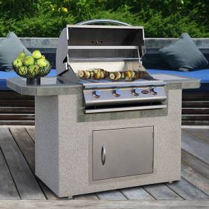 American Spas Cal Flame Stucco and Tile Stainless Steel 6 Foot 4 Burner Grill Island (Silver/Grey)