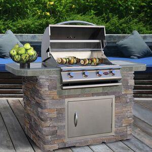 American Spas Stone Veneer Stainless Steel Grill Island 6ft 4 Burner Gas Grill (Rust Resistant/Warming Rack - Propane Gas - 50001 - 60000 - Stainless Steel - 700 -