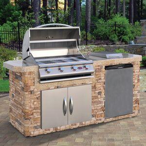 Cal Flame Stone Veneer Stainless Steel 7 Foot 4 Burner Grill Island (Brown/Grey)