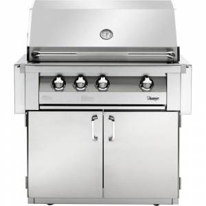 Vintage 36-In. Built-In Natural Gas Grill in Stainless with 2-Door Cart