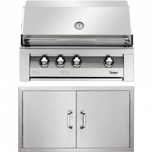 Vintage 36-In. Built-In Natural Gas Grill in Stainless with Sear Zone and Double Access Doors
