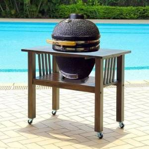 Overstock Duluth Forge 18 Inch Kamado Grill With Table - Antique Grey - 18 Inch (18 Inch - Antique Grey)