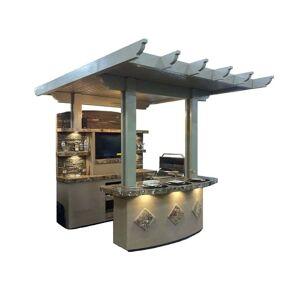 "KoKoMo Grills St. Croix 3 Piece 4' Island With 7'6"" Media Wall & 7'6"" Bar Outdoor BBQ Kitchen (Natural Gas/Propane Gas)"