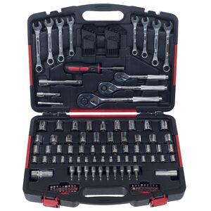 Stalwart Mechanic's Tool Set- 135 Piece by Stalwart, H& Tool Set Includes -  Screwdriver, Wrench, & Ratchet Set (Black)