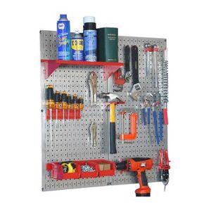 Wall Control Metal Pegboard Utility Tool Storage Kit - Galvanized Steel Pegboard (Red)