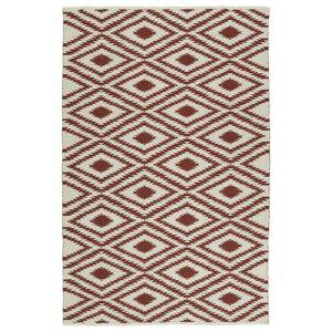 Bombay Home Indoor/Outdoor Laguna Ivory and Brick Ikat Flat-Weave Rug (9'0 x 12'0) - 9' x 12' (9' x 12' - Brick)