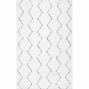 nuLOOM Handmade Moroccan Trellis Striped Area Rug (6' x 9' - White)