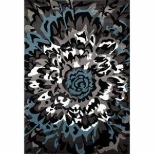 "OSTI Modern Large Floral Area Rug (Gray 7'10"" x 10'2"")"