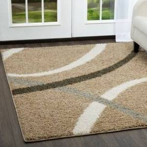 """Nicole Miller New York Synergy Quill Shag Abstract Area Rug (Beige/White 9'2""""x12'5"""")"""
