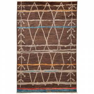Overstock Bohemian Moroccan One-of-a-Kind Hand-Knotted Area Rug - 6 x 9 (6 x 9 - Brown)