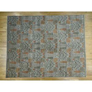 Oriental Rug Galaxy Hand Knotted Grey Tribal & Geometric with Wool Oriental Rug