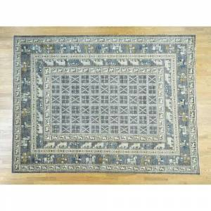 Oriental Rug Galaxy Hand Knotted Grey Tribal & Geometric with Wool Oriental Rug - 10'1 x 12'9
