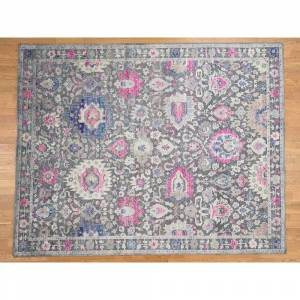 Oriental Rug Galaxy Hand Knotted Grey Oushak and Peshawar with Wool & Silk Oriental Rug - 8'1 x 10'2