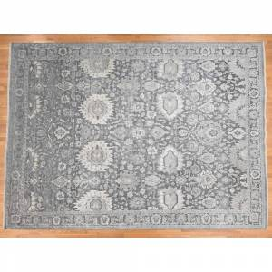 Oriental Rug Galaxy Hand Knotted Grey Oushak and Peshawar with Wool & Silk Oriental Rug