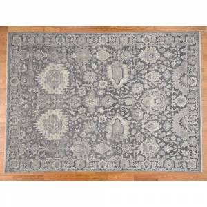 Oriental Rug Galaxy Hand Knotted Grey Oushak and Peshawar with Wool & Silk Oriental Rug - 9' x 12'4