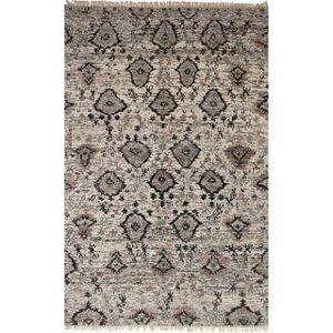 "Ecarpetgallery Hand-knotted Sari Silk Black, Cream Silk Rug (4'5"" x 6'3"" - Cream)"