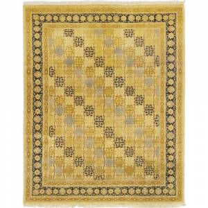 Overstock Traditional Oriental Silky Oushak One-of-a-Kind Hand-Knotted Area Rug - Beige - 8 x 10 - 8 x 10 (8 x 10 - Beige)