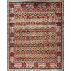 Overstock Contemporary Patterned & Floral One-of-a-Kind Hand-Knotted Area Rug - 12 x 14 (12 x 14 - Red)