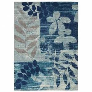 """Nourison Tranquil Floral Leaves Area Rug (5'3"""" Round - Grey/Multi)"""