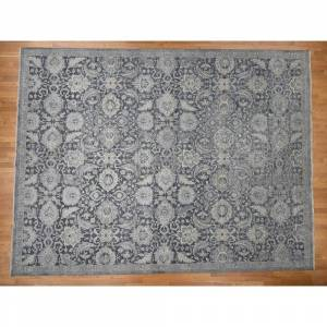 "Oriental Rug Galaxy Hand Knotted Grey Oushak and Peshawar with Wool & Silk Oriental Rug (12' x 15'10"") - 12' x 15'10"""