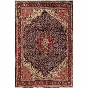 "Overstock Tabriz Tribal Geometric Hand-Knotted Wool Persian Oriental Area Rug - 10'1"" x 6'8"" - 10'1"" x 6'8"" (10'1"" x 6'8"" - Blue)"