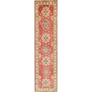 "Overstock Kazak Oriental Hand Knotted Wool Pakistani Traditional Rug - 10'7"" x 2'7"" Runner (10'7"" x 2'7"" Runner - Red)"